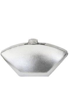Olga Berg Silver Textured Clutch Bag