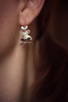 Sterling Silver Hoops - Unique Hoop Earrings - Fern Frond Hoops