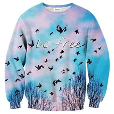 """Be Free Sweater: This """"all over"""" print crewneck sweatshirt is made using a special sublimation technique to provide a vivid graphic image throughout the shirt."""
