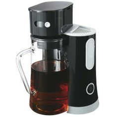 Oster BVST-TM23 2-1/2-Quart Iced-Tea Maker, Black by Oster. $39.50. Measures 11 by 10 by 13-1/2 inches; 1-year limited warranty. Dishwasher-safe pitcher, pitcher lid, and brew basket. 2-1/2-quart iced-tea maker works with loose or bagged tea. Simple on/off button with power indicator light; auto shut-off for safety. Water window in reservoir; adjustable brew strength; permanent filter. Dishwasher safe glass pitcher. Rotating brew head. 2-1/2-Quart capacity. Stee...