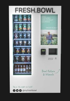 Need a quick salad? These new vending machines have you covered Fresh Bowl's vending machines will give New Yorkers easy salads Healthy Vending Machines, Vending Machines For Sale, Fresh Bowl, Coin Laundry, Container Shop, Design Seeds, Machine Design, Easy Salads, Store Design