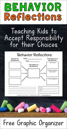 Best classroom management tool ever! This free Behavior Reflections graphic organizer is a great way to handle those recurring disruptive behaviors that may seem insignificant at the time but end up costing you hours of instructional time. Having kids fill out this graphic organizer teaches them to accept responsibility for their choices by helping them understand why they engage in those disruptive behaviors as well as the consequences of their actions.