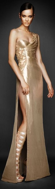 White and Gold Wedding. Gold Bridesmaid Dress. Elegant and Glamorous. Atelier Versace