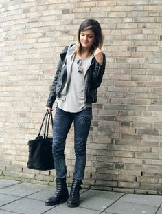 Biker Boots and leather Jacket  Street Style
