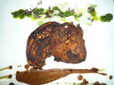 Chicken, baby turnips-cilantro and squash mole sauce