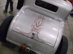 "Chet Hill's 1930 Ford Coupe, which won Best Nostalgia Coupe at the 2014 Detroit Autorama, congratulations Chet! Pinstriping by ""Lil' Dickie"""