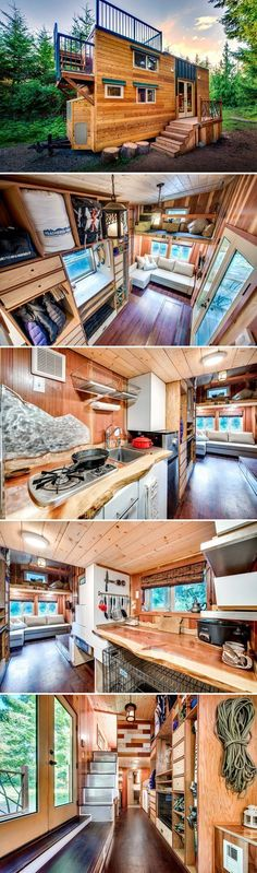 A 204-square-foot tiny house with a large rooftop deck, lots of storage for the owners' outdoor gear, and accommodations for their dogs.