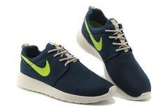 pick up 82029 2d751 Nike Roshe Run Womens Dark Blue Fluorescence Green Mesh Shoes