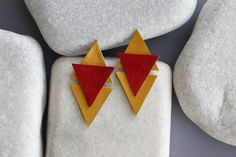 Geometric Earrings. Leather and goldfield от ZvuvA на Etsy