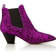 Marc Jacobs Kim Glitter Chelsea Boots ($395) ❤ liked on Polyvore featuring shoes, boots, fuchsia, beatle boots, fuchsia shoes, chelsea ankle boots, mid heel boots and fuschia shoes