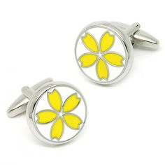 Charming Yellow Paint Round Cufflinks