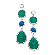 Andara Pear Green Onyx  Blue Glass Earrings ($125) ❤ liked on Polyvore featuring jewelry, earrings, earrings jewelry, glass jewelry, andara, glass earrings and round earrings