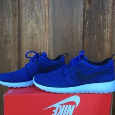 •reserved• Nike roshe one flyknit BRAND NEW!! Royal blue nike roshe flyknit! The bottoms are a light blue/off white. WOMENS SIZE 8! ❗️They run big, it would fit a size 8.5-9 woman's!❗️PRICE IS FIRM, NO TRADES! Nike Shoes Athletic Shoes