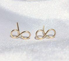 Stud Earrings Tiny Infinity Studs 14k gold by JulJewelry