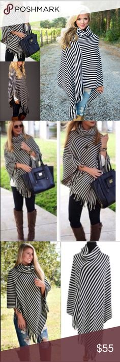 LA striped poncho 💞PREORDER NOW 💞 I will be receiving a limited supply of this item this week. Place your order today and it will be shipped to you immediately upon receipt. Stunning striped poncho super soft and fun to wear with so much. Pair it with the matte faux leather leggings also available here my closet. One size fits all. Sweaters Shrugs & Ponchos