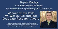 Bryan Cody, PhD candidate in Environmental Engineering wins prestigious AAEES award