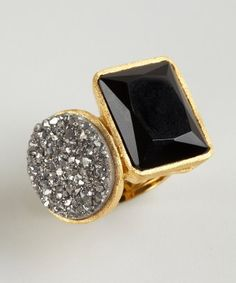Marcia Moran : gold plated druzy and stone geometric ring : style # 323151701