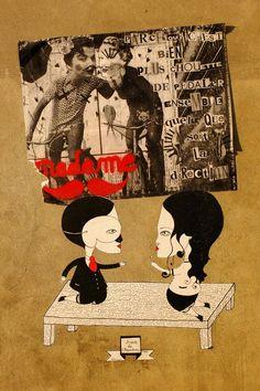 Paris 19 - rue d'Aubervilliers/espace 104 - street art - Fred le chevalier, madame moustache