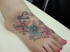 foot tattoos with names and flowers - Google Search