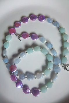 Blue lace agate amazonite and freshwater pearl by mooliemarket, $35.00 Diy Jewelry Necklace, Necklace Designs, Jewelry Crafts, Necklace Ideas, Stone Necklace, Blue Lace Agate, Freshwater Pearl Necklaces, Making Ideas, Beautiful Necklaces