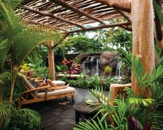 Outdoor shower/bath area off master.  Not as deep but like waterfall (which could be incorporated into stoned jacuzzi bath) and lush nature of area