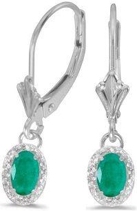 #Jewelry #Earrings 4k White Gold Oval Emerald And Diamond Leverback Earrings
