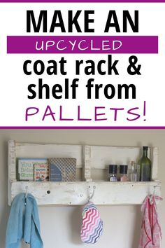 Learn how to make a coat rack and shelf from reclaimed wood. That's right - use an upcycled pallet for this great DIY home project that you can make in a day. Perfect for Industrial farmhouse, cottage chic, or a boho home decor style. Easy to follow tutorial with how to instructions, too. Cutting Board Material, Pallet Coat Racks, Coat Rack Shelf, Make Your Own, How To Make, Industrial Farmhouse, Home Decor Styles, Cottage Chic, Wood Pallets