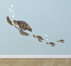 """Hibiscus Sea Turtle Decal 3.5/"""" 4.5/"""" 5.5/"""" Ocean Life Nature Marine Wildlife"""