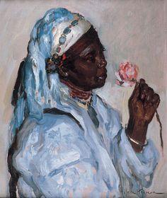 La esclava con la ros, óleo sobre lienzo 65 x 53 cm.  Jose Cruz Herrera