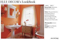 Country Style Tangerine Orange bathroom featured in Elle Decor