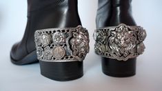 Excited to share the latest addition to my #etsy shop: Chanel Paris vintage runway boots silver metal lion head stars camellia pearls black leather catwalk Monte Carlo collection CC logged spurs http://etsy.me/2DUP2FB #clothing #shoes #women #chanel #chanelvintage #cha