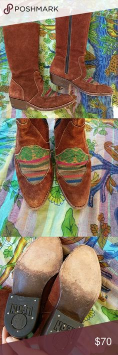 Vintage Peruvian boots by leon Previously loved, suede and embroidered details leon Shoes