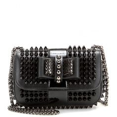 Christian Louboutin Sweety Charity Studded Leather Shoulder Bag ($1,285) ❤ liked on Polyvore featuring bags, handbags, shoulder bags, black, black purse, studded leather handbag, black handbags, leather handbags y genuine leather handbags