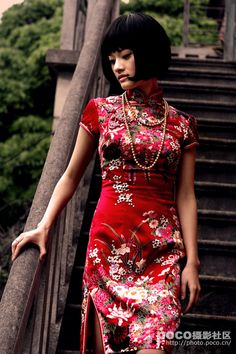 Chinese wedding dress - cheongsam or qi pao - red - tea ceremony