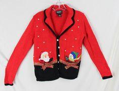 Studio Joy Petite S PS size Ugly Christmas Cardigan Sweater Munchie Pockets Shy #StudioJoy #Cardigan