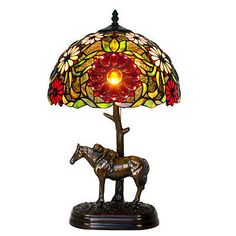 "Bieye Tiffany Stained Glass Bronze Horse Table Lamp with 12""W Handmade Shade New"