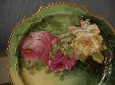 Antique LRL Limoges France hand painted plate, pink roses plate, French porcelain plate charger, pink and yellow roses china plate Antique Dishes, Antique Plates, Vintage Plates, Vintage Dishes, Antique China, Vintage China, Antique Glassware, Vintage Pyrex, Hand Painted Plates