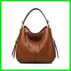 Realer Designer Handbag Purse PU leather Durable Shoulder Bag for Women's Messenger Bag Light Brown - Shoulder bags (*Amazon Partner-Link)