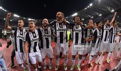 Players of Juventus FC celebrate the victory after the TIM Cup Final match between SS Lazio and Juventus FC at Olimpico Stadium on May 17, 2017 in Rome, Italy.
