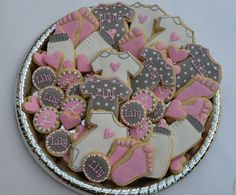 Pink and grey baby shower cookies for a soon-to-be born little girl named Lily! Thank you for the donation, Janell! Idee Baby Shower, Shower Bebe, Tea Party Baby Shower, Baby Party, Girl Shower, Baby Shower Favors, Baby Shower Themes, Baby Shower Decorations, Shower Ideas