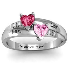 Double Heart Gemstone Mothers Ring with Accents. Love this!