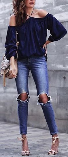 #summer #stunning #outfitideas | Navy Off The Shoulder Top + Denim
