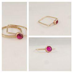 modern ruby #wedding set by {dani keith designs} #spring2014 #jewelry #rings