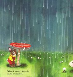 Richard Scarry picture of little bunny standing under a toadstool in the rain.  I remember this book from when I was little.