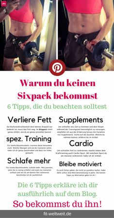 6 hidden six-pack tips for women: how to get it + Challenge - fit-weltweit.de - Sixpack training for home tips, Sixpack get tips for women, slim and lose weight on the stomach, Si - Fitness Workouts, 6 Pack Abs Workout, Workout Schedule, Fun Workouts, Fitness Abs, Six Pack Tips, Month Workout Challenge, Workout Challange, Sixpack Training