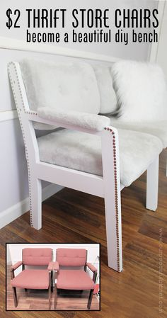Watch how two 2 thrift store office chairs were transformed into a gorgeous comfy bench seat with nothing more than some paint and 600 of material Refurbished Furniture, Repurposed Furniture, Cheap Furniture, Furniture Makeover, Bedroom Furniture, Furniture Design, Diy Furniture Repurpose, Office Chair Makeover, Thrift Store Furniture