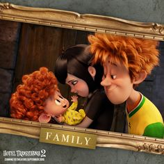 Mavis and Jonathan and their new son, Dennis from the new upcoming movie, Hotel Transylvania 2. I'm really excited to see this one.