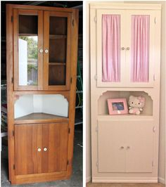 corner cabinet redo before and after for playroom