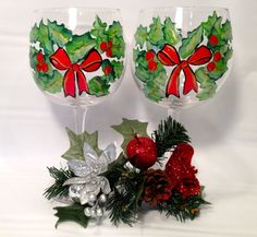 Christmas Wine Glass by Brusheswithaview on Etsy, $30.00