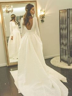 New A-line Scoop Neck Satin Court Train Appliques Lace Long Sleeve Backless Wedding Dresses #DGD00022870
